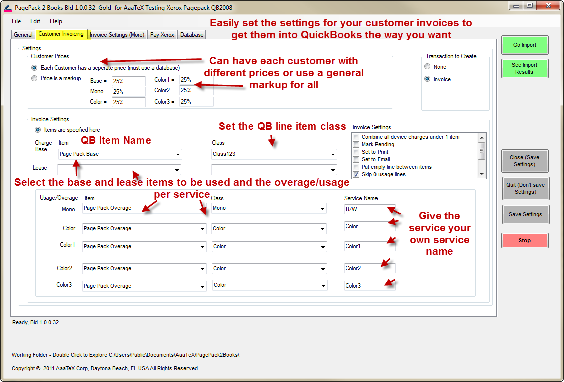 Xerox PagePack to QuickBooks Invoices