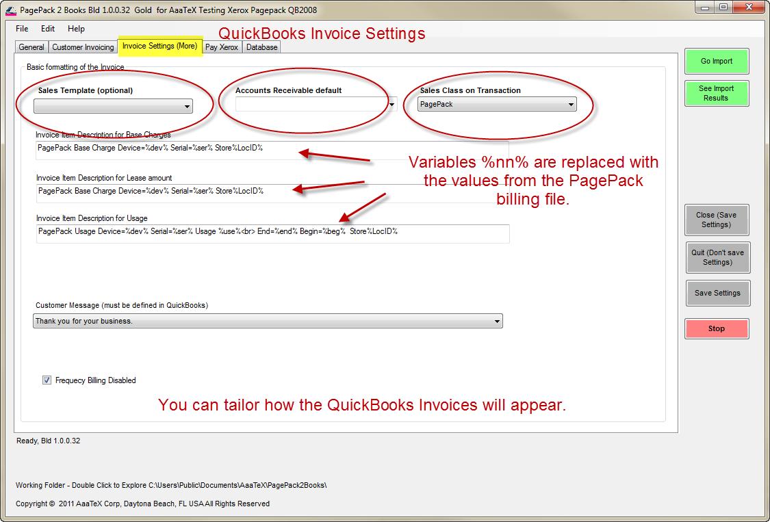 Xerox PagePack billing to QuickBooks